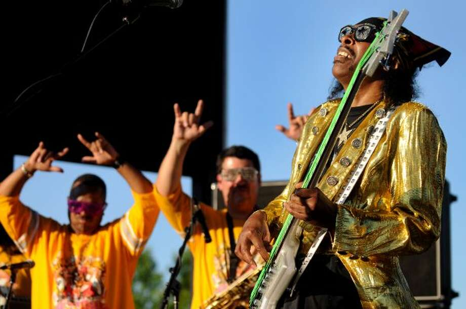 Funk bassist Bootsy Collins, right, performs at Alive at Five on Thursday, June 14, 2012, at Riverfront Park in Albany, N.Y. (Cindy Schultz / Times Union) (Albany Times Union)