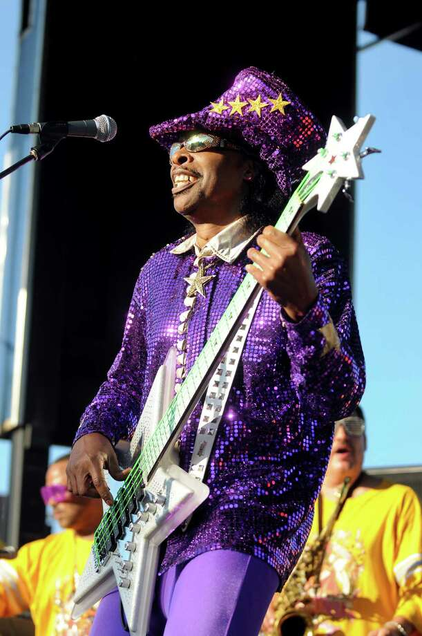 Funk bassist Bootsy Collins performs at Alive at Five on Thursday, June 14, 2012, at Riverfront Park in Albany, N.Y. (Cindy Schultz / Times Union) Photo: Cindy Schultz / 00018097A