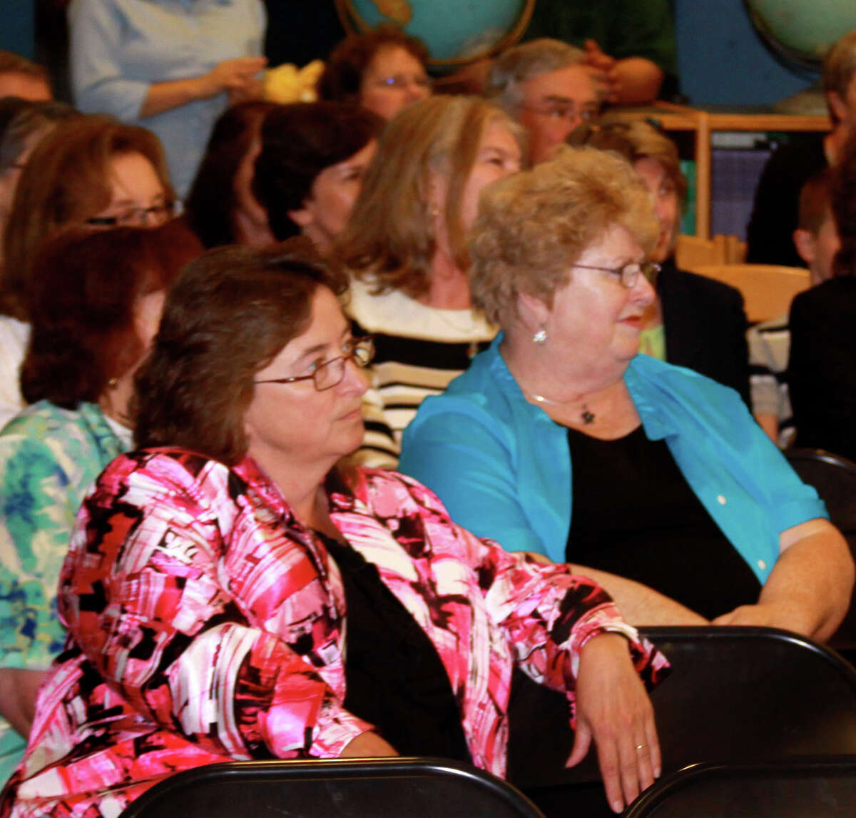 Adele Johnson, left, and Nancy Nahley, are among retiring New Milford educators at a Board of Education reception Wednesday, June 13, 2012.
