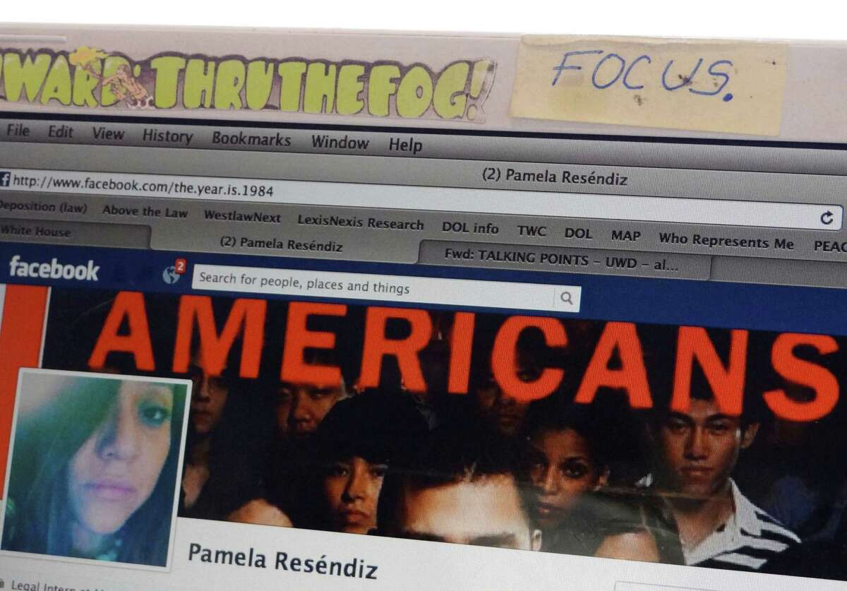 The Facebook page of Pamela Resendiz, an illegal immigrant hoping to gain legal status through the DREAM Act, displays a photograph that reflects her desire. June 15, 2012.