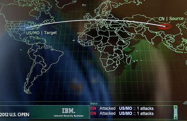 The IBM tech setup is so complete it even shows web attacks, this one somewhere in China. IBM has set up high tech rooms at the U.S. Open to collect data and be a speedy reliable source of information for golf fanatics across the world. Photo: Brant Ward, The Chronicle