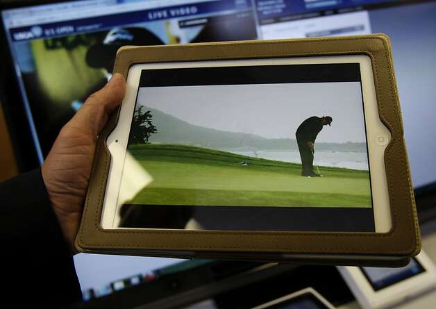 IBM technologies can make an iPad display come to life. IBM has set up high tech rooms at the U.S. Open to collect data and be a speedy reliable source of information for golf fanatics across the world. Photo: Brant Ward, The Chronicle