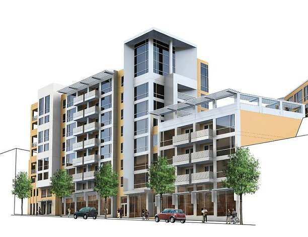 1844 Market will have 113 new apartments, along with 5,500 square feet of retail space and an underground garage, will have been built on the corner of Market and Octavia streets, where a small retail center used to be. Photo: MacFarlane Partners