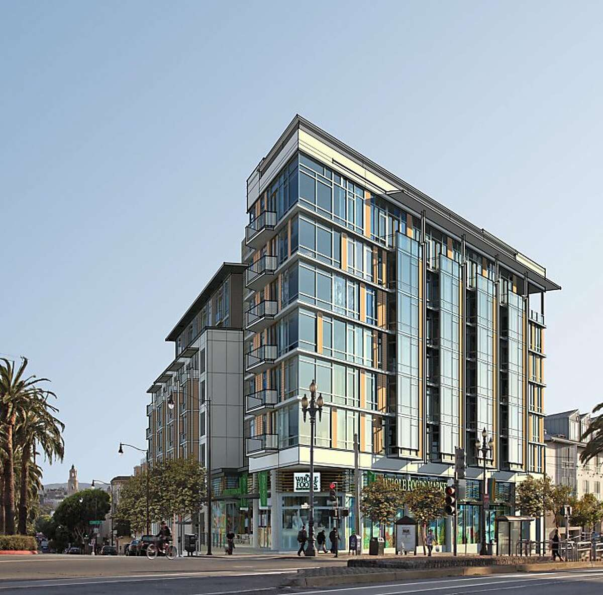 Last week, shoring and excavation work was being conducted at Market and Dolores streets, where the S&C Ford once stood. In its place, by September of next year, will be an 82-unit residential complex anchored by a 30,000 square-foot Whole Foods.