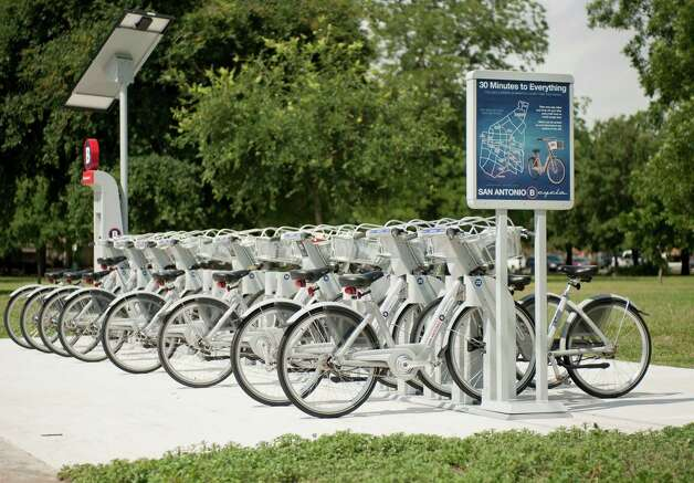 B-cycle station at SAHA Park, photographed Thursday, June 7, 2012, in San Antonio. Photo: Darren Abate, Darren Abate/for The Express-New