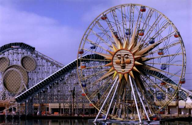Coney Island's Wonder Wheel served as the inspiration for Mickey's Fun Wheel, a sliding Ferris wheel at Disney's California Adventure. It's 160 feet tall. Photo: Getty Images / Getty Images North America