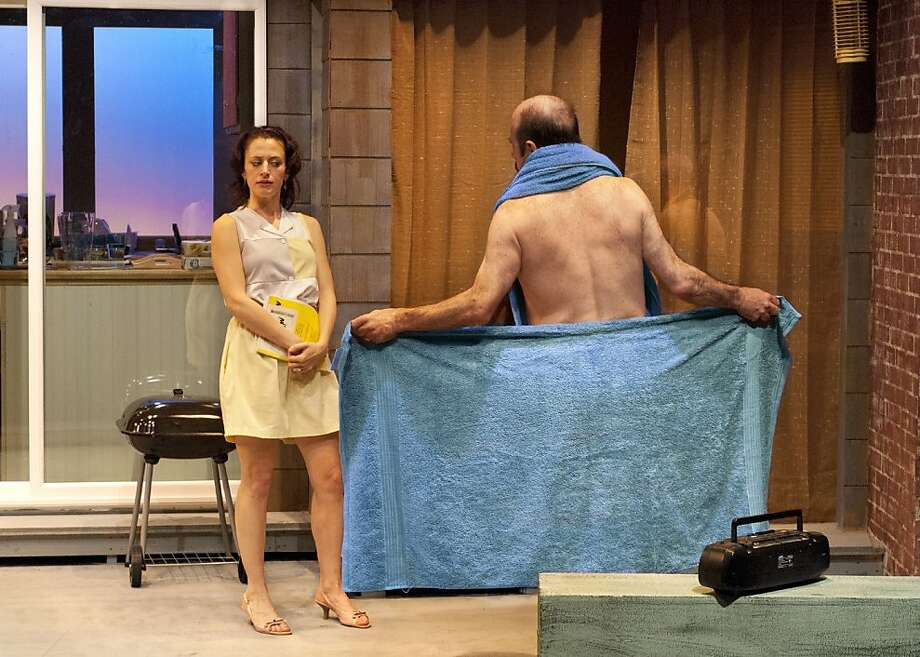 "Chloe ( Sarah Mitchell) confronts an awkward situation with Sam (Michael Sally) in Terrence McNally's ""Lips Together, Teeth Apart"" at New Conservatory Theatre Center Photo: Lois Tema"
