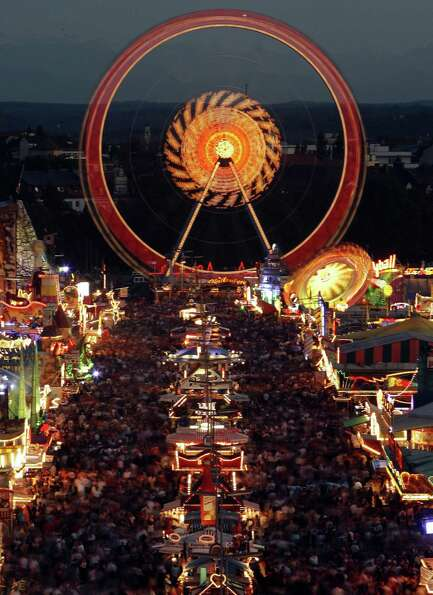 The Ferris wheel is a main attraction at Munich's Theresienwiese fairground during the annual Oktobe