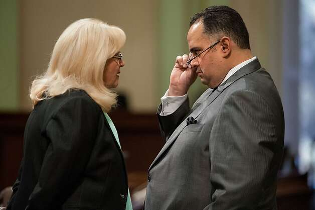 Assembly member Connie Conway, left, speaks with Assembly Speaker John Perez at the State Capitol in Sacramento, California, on Friday, June 15, 2012. (Randall Benton/Sacramento Bee/MCT) Photo: Randall Benton, McClatchy-Tribune News Service