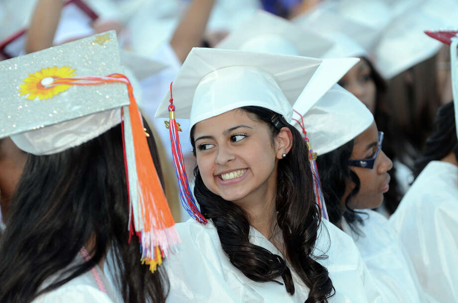 Graduate Fatima Gabriela Amaya during the fifty-first commencement excercises at Brien McMahon High School in Norwalk on Friday, June 15, 2012. Photo: Amy Mortensen / Connecticut Post Freelance