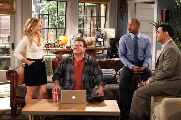 (Left to right: Kelly Stables, Wayne Knight, Donald Faison and David Alan Basche) As the guys brainstorm how to get a superstar jockey to sign with sports agent Phil (Faison), Eden (Stables) enters with some divine inspiration. ÒThe ExesÓ episode ÒA Little RomanceÓ airs December 7th* at 10:30pm on TV Land. Photo: Courtesy Of TV Land