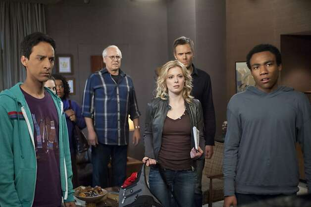 "COMMUNITY -- ""Curriculum Unavailable"" Episode 319 -- Pictured: (l-r) Danny Pudi as Abed, Chevy Chase as Pierce, Gillian Jacobs as Britta, Joel McHale as Jeff, Donald Glover as Troy. Photo: Lewis Jacobs, NBC"