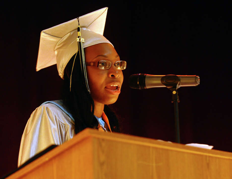 Class Satutatorian Shanet Hinds givers her speech during Bridge Academy's Class of 2012 Commencement Exercises in Bridgeport, Conn. on Friday June 15, 2012. Photo: Christian Abraham / Connecticut Post