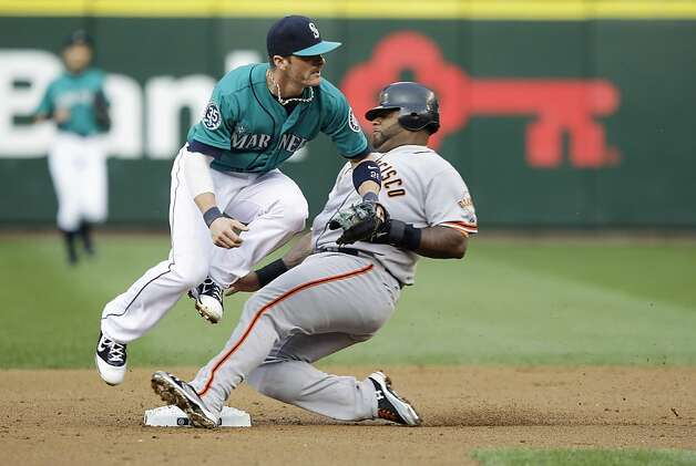 San Francisco Giants' Pablo Sandoval, right, is forced at second by Seattle Mariners shortstop Brendan Ryan in the second inning of a baseball game, Friday, June 15, 2012, in Seattle. Brandon Belt was safe at first. (AP Photo/Ted S. Warren) Photo: Ted S. Warren, Associated Press