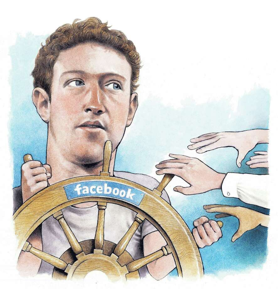 "300 dpi Doug Griswold illustration of Facebook founder Mark Zuckerberg steering the Facebook ""ship"" as others reach for the handles. San Jose Mercury News 201101000000; 04000000; ACE; FIN; krtbusiness business; krtentertainment entertainment; krtnational national; krt; mctillustration; 01027000; ENT; internet; 04003005; 13022000; krtcomputersci computer science information technology it; krtnamer north america; krtusbusiness; SCI; software; u.s. us united states; facebook founder mark zuckerberg; sj contributed griswold; social media; 2011; krt2011 Photo: Griswold / © MCT 2011"