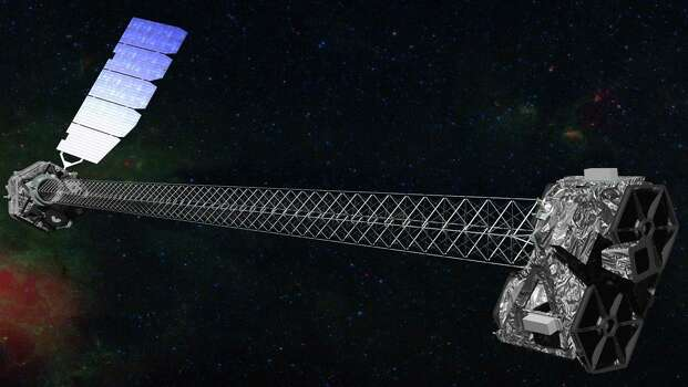 This image provided by NASA shows an artist rendering of the space agency's latest X-ray telescope. NuStar, whose mast is the length of a school bus, launched in June 2012 to study black holes and other celestial objects. NuSTAR stands for Nuclear Spectroscopic Telescope Array. (AP Photo/NASA) Photo: HOPD / NASA