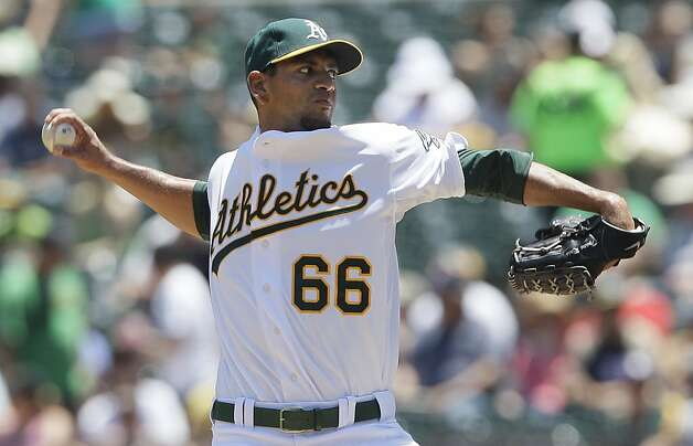 Oakland Athletics' Tyson Ross delivers a pitch against the San Diego Padres during the first inning of a baseball game in Oakland, Calif., Saturday, June 16, 2012. (AP Photo/Jeff Chiu) Photo: Jeff Chiu, Associated Press