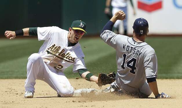 Oakland Athletics shortstop Cliff Pennington (2) tags out San Diego Padres' Mark Kotsay (14), who was trying to steal second base during the fourth inning of a baseball game in Oakland, Calif., Saturday, June 16, 2012. (AP Photo/Jeff Chiu) Photo: Jeff Chiu, Associated Press