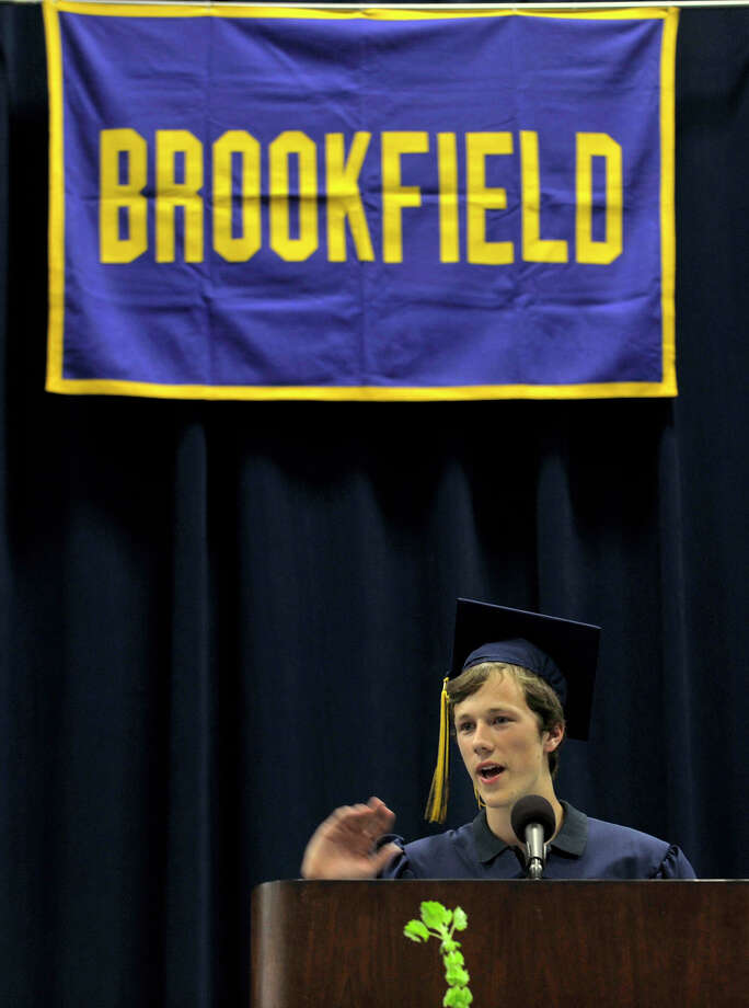 Timothy Young, the president of the class of 2012, speaks during the Brookfield High School graduation in the O'Neill Center at Western Connecticut State University's westside campus in Danbury on Saturday, June 16, 2012. Photo: Jason Rearick / The News-Times