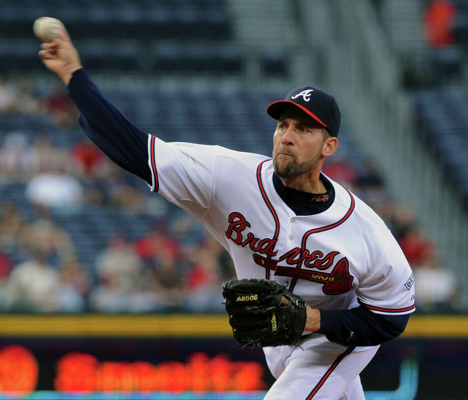 Atlanta Braves starter John Smoltz delivers to the Washington Nationals during the second inning of a Major League Baseball game, Tuesday, April 22, 2008, at Turner Field in Atlanta. (AP Photo/Gregory Smith) Photo: Gregory Smith