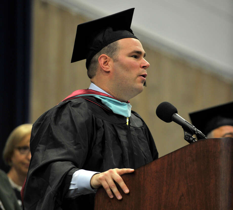 Principal Joseph Palumbo speaks during the Brookfield High School graduation in the O'Neill Center at Western Connecticut State University's westside campus in Danbury on Saturday, June 16, 2012. Photo: Jason Rearick / The News-Times
