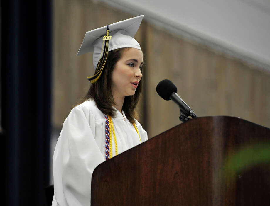 Zoe Miller speaks during the Brookfield High School graduation in the O'Neill Center at Western Connecticut State University's westside campus in Danbury on Saturday, June 16, 2012. Photo: Jason Rearick / The News-Times