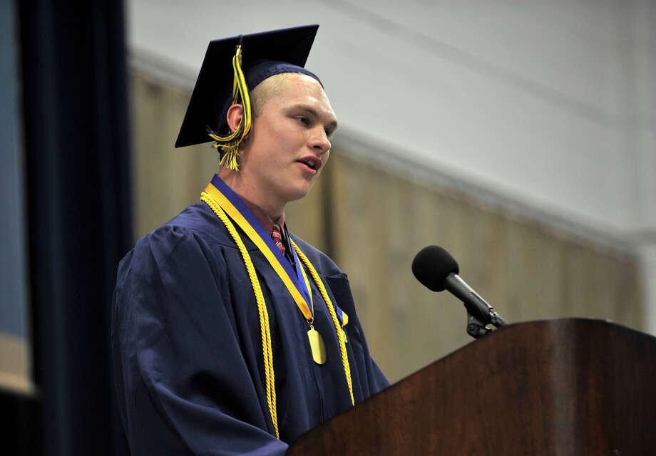 Salutatorian David DePoi speaks during the Brookfield High School graduation in the O'Neill Center at Western Connecticut State University's westside campus in Danbury on Saturday, June 16, 2012. Photo: Jason Rearick / The News-Times