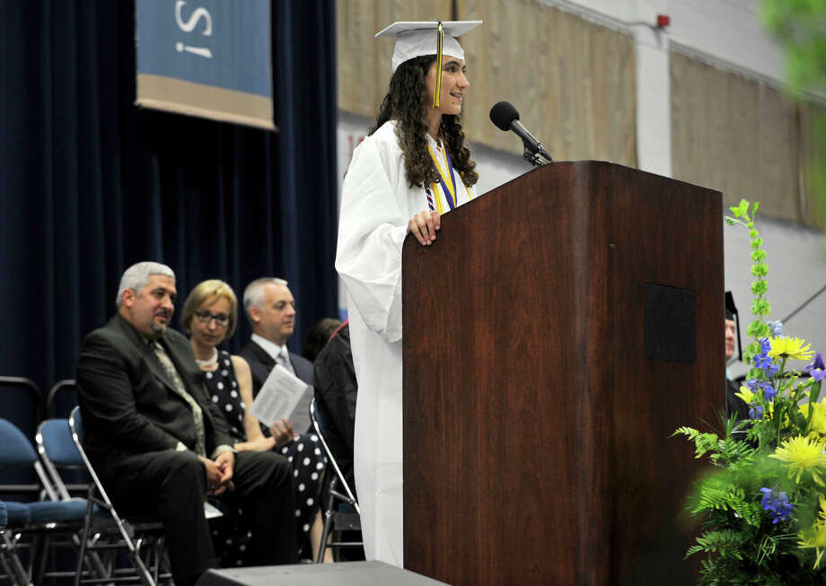 Valedictorian Alexandra Willey speaks during the Brookfield High School graduation in the O'Neill Center at Western Connecticut State University's westside campus in Danbury on Saturday, June 16, 2012. Photo: Jason Rearick / The News-Times