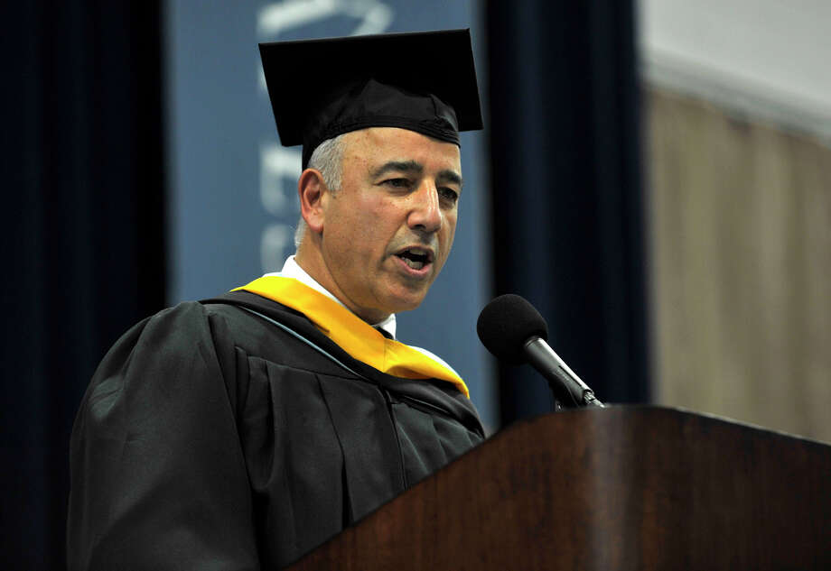 Superintendent of Schools Anthony Bivona speaks during the Brookfield High School graduation in the O'Neill Center at Western Connecticut State University's westside campus in Danbury on Saturday, June 16, 2012. Photo: Jason Rearick / The News-Times