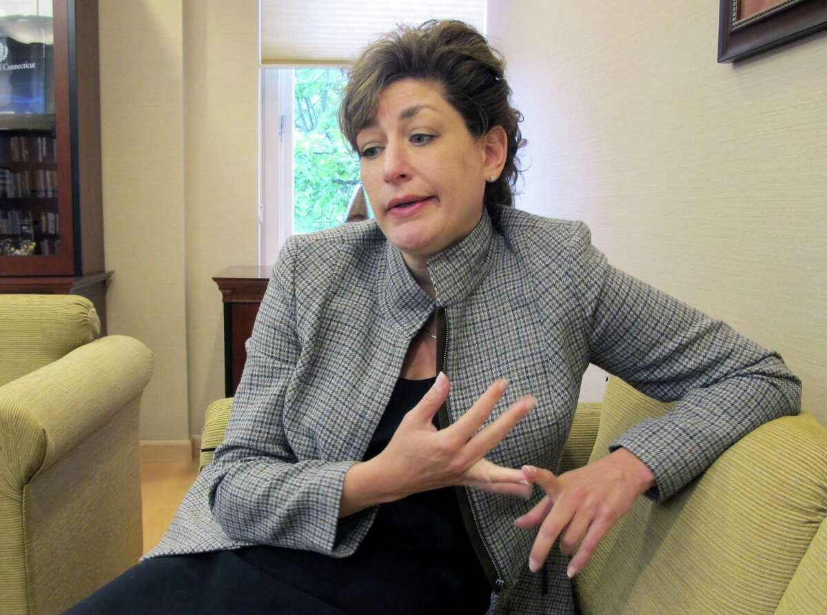 University of Connecticut President Susan Herbst answers a question while discussing the future of UConn athletics during an interview in her office in Storrs, Conn., Tuesday, Sept. 20, 2011. (AP Photo/Pat Eaton-Robb)
