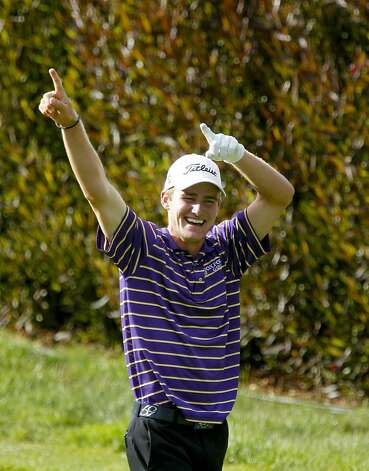 John Peterson celebrates his hole-in-one on the par-3 15th hole, during the third round of the United States Open Championship being played at the Olympic Club in San Francisco, Ca., on Saturday June 16, 2012. Photo: Michael Macor, The Chronicle