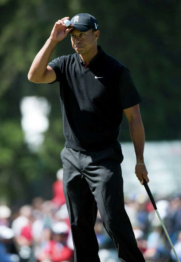 Tiger Woods reacts after he made par on No. 9 during the second round of the U.S. Open golf tournament, Friday, June 15, 2012, at Olympic Club in San Francisco. (AP Photo/The Sacramento Bee, Paul Kitagaki Jr.) MAGS OUT  TV OUT  MANDATORY CREDIT Photo: Paul Kitagaki Jr.