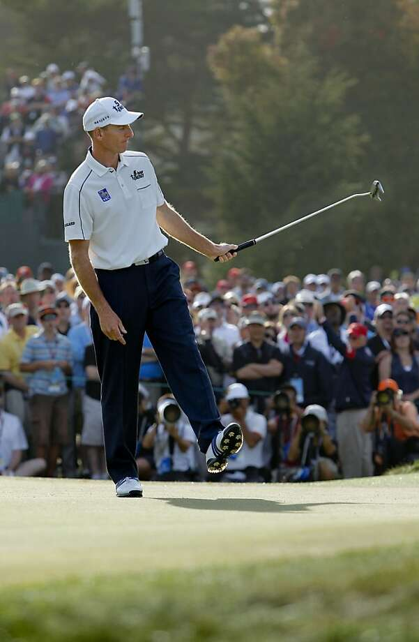 Jim Furyk uses a little body english on this putt on the fifthteenth hole, during the third round of the United States Open Championship being played at the Olympic Club in San Francisco, Ca., on Saturday June 16, 2012. Photo: Michael Macor, The Chronicle
