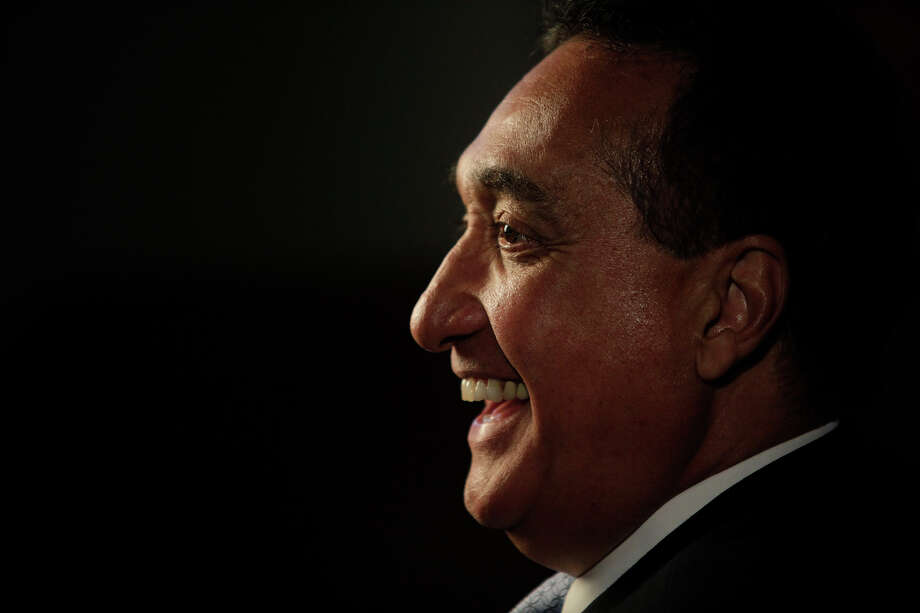 Henry Cisneros laughs as he tells a story between being interviewed and videotaped for an upcoming award a San Antonio resident will be receiving, at CityView on Wednesday, June 6, 2012. Photo: Lisa Krantz, San Antonio Express-News / 2012 San Antonio Express-News