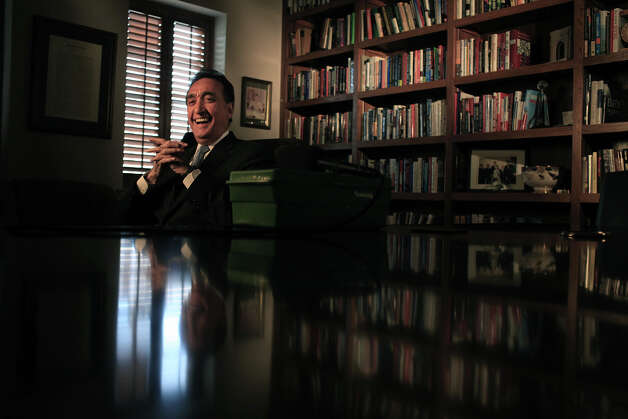 Henry Cisneros laughs as he tells a story between being interviewed for a video honoring local resident who will be receiving an award, on Wednesday, June 6, 2012. Photo: Lisa Krantz, San Antonio Express-News / 2012 San Antonio Express-News