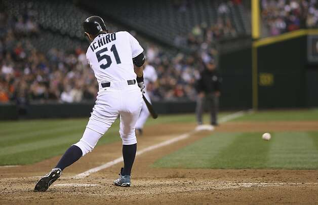 SEATTLE, WA - JUNE 16:  Ichiro Suzuki #51 of the Seattle Mariners hits an RBI single in the fifth inning against the San Francisco Giants at Safeco Field on June 16, 2012 in Seattle, Washington. (Photo by Otto Greule Jr/Getty Images) Photo: Otto Greule Jr, Getty Images