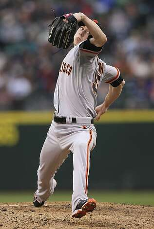 SEATTLE, WA - JUNE 16:  Starting pitcher Tim Lincecum #55 of the San Francisco Giants pitches against the Seattle Mariners at Safeco Field on June 16, 2012 in Seattle, Washington. (Photo by Otto Greule Jr/Getty Images) Photo: Otto Greule Jr, Getty Images