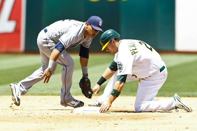 OAKLAND, CA - JUNE 16: Cliff Pennington #2 of the Oakland Athletics (right) steals second base ahead of a tag from Everth Cabrera #2 of the San Diego Padres (left) during the third inning of an interleague game at O.co Coliseum on June 16, 2012 in Oakland, California. The Oakland Athletics defeated the San Diego Padres 6-4. (Photo by Jason O. Watson/Getty Images) Photo: Jason O. Watson, Getty Images