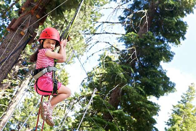 Treetop Adventure Park at Granlibakken consists of platforms high in the trees, bridged by various cable, wood, rope and zip lines. Photo: Granlibakken Conference Center