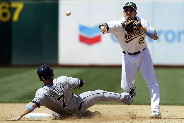 Oakland Athletics shortstop Cliff Pennington (2) throws to first base after forcing out San Diego Padres' Chase Headley (7) at second base on a double play ground ball hit by Yonder Alonso during the sixth inning of a baseball game in Oakland, Calif., Sunday, June 17, 2012. (AP Photo/Jeff Chiu) Photo: Jeff Chiu, Associated Press