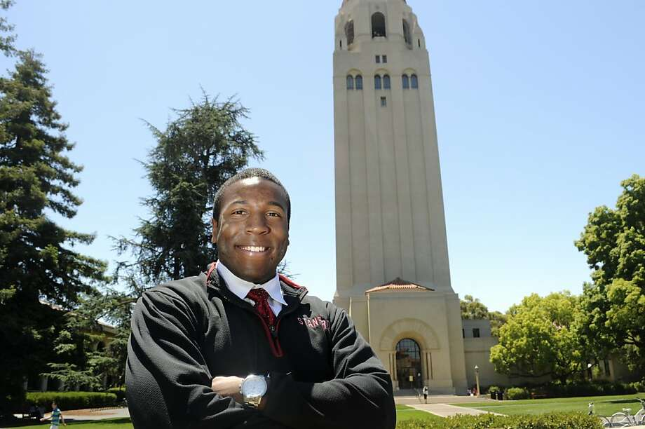 Tyrone McGraw, a student at Stanford University, is graduating with a Bachelor's degree in Arts with honors. McGraw was a track star with a rough upbringing living in Hunter's Point in San Francisco. He received several sports and other scholarships to pay for his six-years of tuition. Photo: Erik Verduzco, Special To The Chronicle