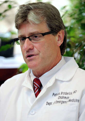 Dr. Patrick Broderick, chairman of emergency medicine, talks about medical marijuana, Thursday, June 14, 202. Photo: Carol Kaliff / The News-Times