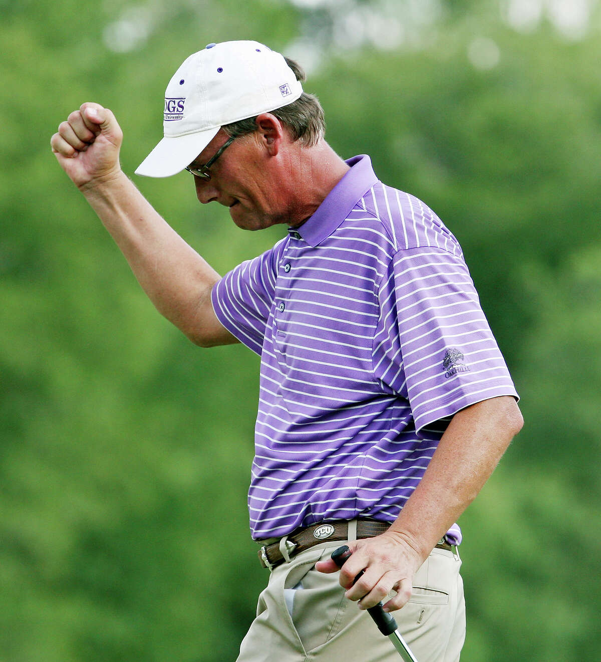 Bobby Baugh reacts after a birdie on the 18th hole during the final round of the Greater San Antonio Men's Championship held Sunday June 17, 2012 at The Republic Golf Club. Adam Lowe defeated Stanton Tondre in a four hole playoff to win the event.