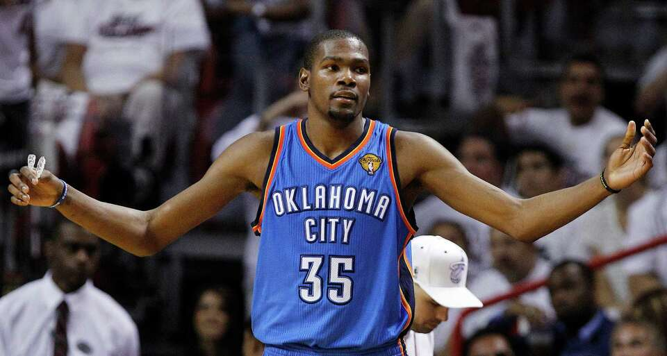 Oklahoma City Thunder small forward Kevin Durant (35) reacts against the Miami Heat during the secon