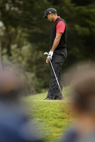 Tiger Woods not to happy with his shot to the par-3 third hole, during the final round of the United States Open Championship being played at the Olympic Club in San Francisco, Ca., on Sunday June 17, 2012. Photo: Michael Macor, The Chronicle
