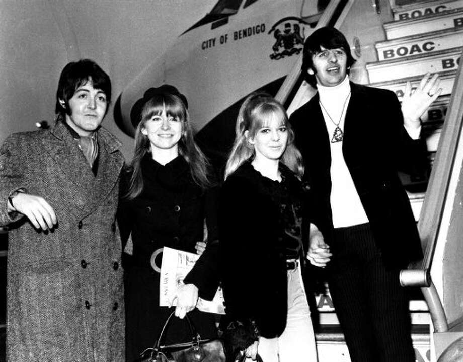19th February 1968: On their way to see the Maharishi.  McCartney with his girlfriend, Jane Asher, a year before he married Linda Eastman. (Jim Gray / ONLINE_YES)