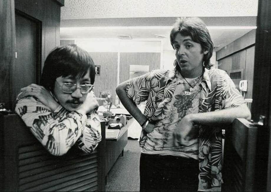 Ben Fong-Torres (left) and Paul McCartney in 1976.  Ben knows how to take a picture with a celebrity:  Never look into the lens.  If you do, you look too happy to be there. (Courtesy Ben Fong-Torres)
