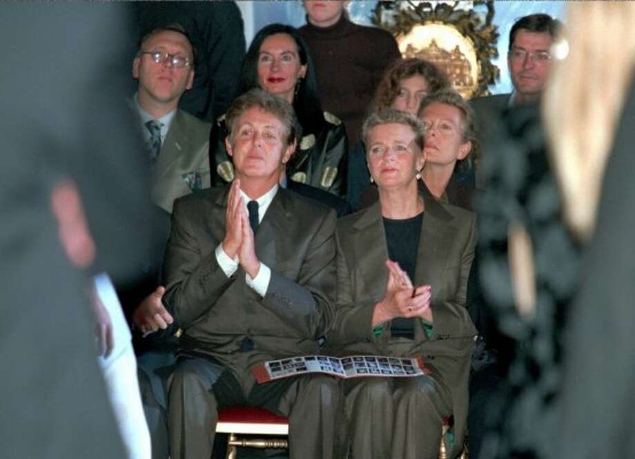 1997: Paul and Linda McCartney at their daughter, Stella McCartney's first fashion show.  Linda McCartney died the next year. (JEAN-CHRISTOPHE KAHN / REUTERS)