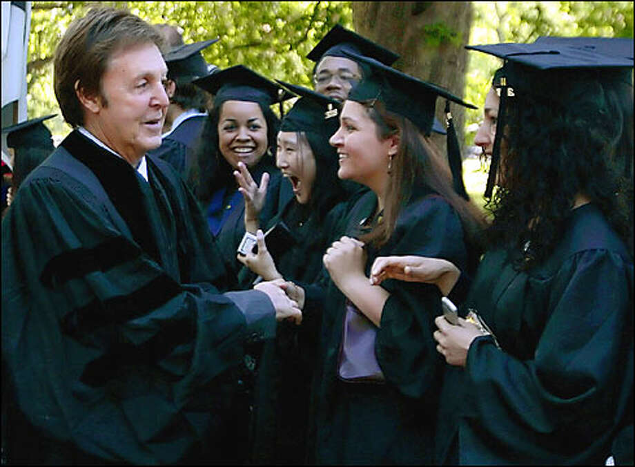 2008:  Being Paul McCartney means they'll give you an award for anything, as long as you promise to show up.  Here he gets an honorary doctorate from Yale.
