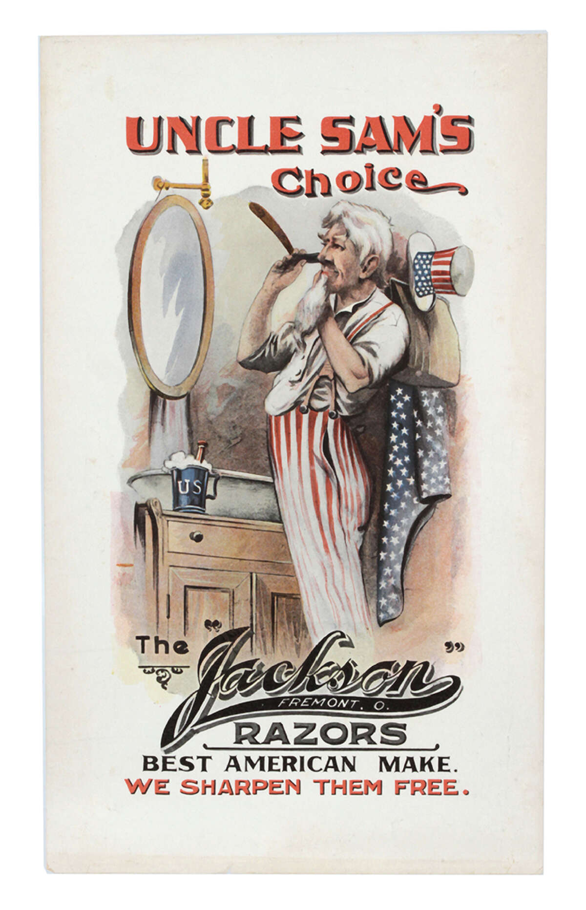 The Uncle Sam image not only represented the United States but was also used to endorse products. This hundred-year-old lithographed sign praised the Jackson razor that was used to shave Uncle Samís beard. William Morford Auctions in Cazenovia, N.Y., sold this sign for $1,925 last fall.